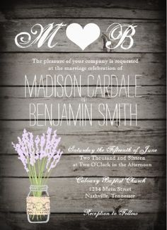 Shop Mason Jar Lavender Rustic Wood Wedding Invitations created by RusticCountryWedding. Wood Wedding Invitations, Wedding Invitation Templates, Wedding Programs, Invites, Country Bachelorette Parties, Personalized Wedding Gifts, Wedding Website, Mason Jars, Chic Wedding