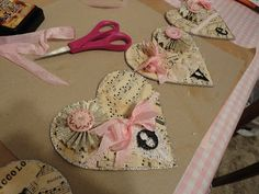 Valentine hearts made from sheet music. The French Cupboard