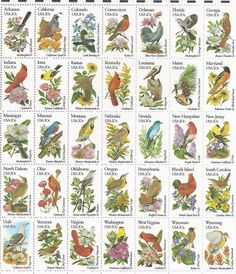 1982 U.S. Commemorative Stamps: Sheet of 50 State Bird and Flower Stamps