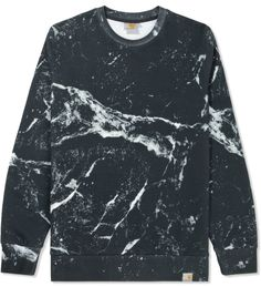 Black Marble Print Sweater