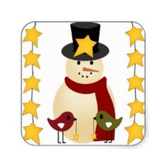 Merry Christmas Snowman and Stars Gifts Square Sticker