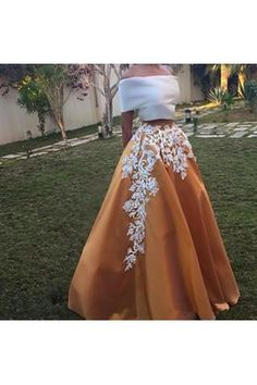 7c11334bfc Elegant Two Piece Sabrina Neck Floor-Length Short Sleeves Camel Homecoming  Dress with White Appliques
