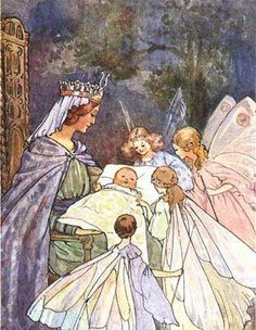 Sleeping Beauty and the fairies- I remember this picture being in my first collection of Fairy Tales when I was little.