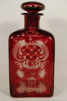 Vintage ruby cut glass Decanter - by Egermann, Germany