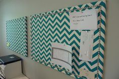 DIY chevron print inspiration pin-boards for office