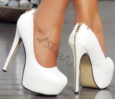 Concise Zipper Decorated Platform Heels