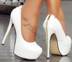 Concise Zipper Decorated Platform Heels