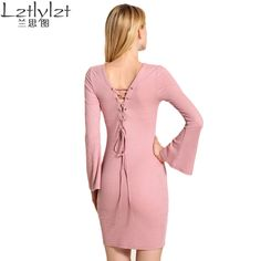 new brand long sleeve autumn&winter dress vintage Back bandages High Quality office women dresses vestidos hot yes