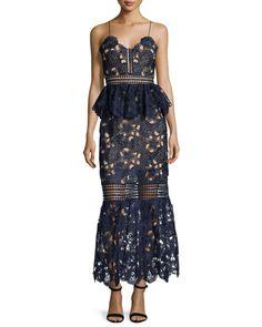 Posh Girl Sheer Lace Column Dress A very unique and modern design dress, calloped V neckline. Spaghetti straps. Peplum waist. Trumpet skirt. Scalloped hem. midi length.  MSRP: $388.00