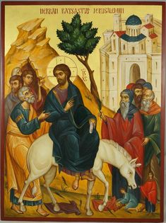 Palm Sunday for the Orthodox Faithful. A beautiful Icon of Jesus entering Jerusalem. To my Orthodox friends and family, I hope you have a peaceful, meaningful Holy Week. Byzantine Icons, Byzantine Art, Religious Icons, Religious Art, Jesus Enters Jerusalem, Paint Icon, Biblical Art, Palm Sunday, Holy Week