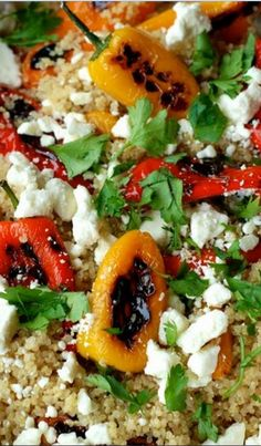 This quinoa salad combines ‪#‎minipeppers‬ soaked in olive oil & topped with feta cheese try this Lemons For Lulu recipe