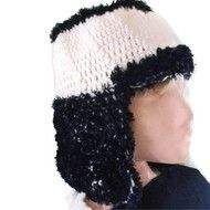 1 DAY SALE! Crochet Chunky Hat with Neck & Earflap in Cream & Navy. Accessories,