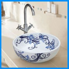 White and Blue Porcelain Sink, Hand Painted Porcelain Basin, Art Porcelain Bowl, Art Ceramic Basin