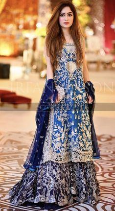 Brides side wearing elan at the Mehndi.whatsapp me 00923064010486 Pakistani Bridal Lehenga, Pakistani Party Wear Dresses, Walima Dress, Wedding Party Dresses, Bridal Dresses, Dress Party, Pakistani Couture, Bridal Outfits, Indian Dresses