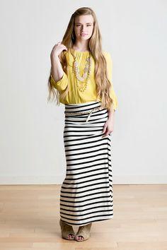 white/black stripe maxi