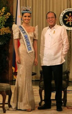 In recognition to the first Filipina who won the most coveted Miss World title in its years of existence, and brought home such pride and glory to the Philippines, Megan Young was invited at the Malacanang Palace to meet President Benigno Aquino III. Modern Filipiniana Dress, Miss World 2013, Megan Young, Miss Philippines, Filipino Fashion, Pride And Glory, Civil Wedding Dresses, Pageant Girls, Beauty Pageant