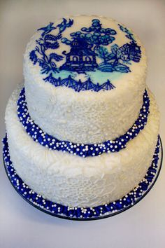 """Willow's Blue and White """"Willow Ware"""" Cake"""