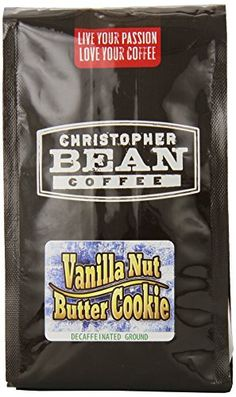Christopher Bean Coffee Flavored Decaffeinated Ground Coffee Vanilla Nut Butter Cookie 12 Ounce ** Details can be found by clicking on the image. (This is an affiliate link and I receive a commission for the sales)