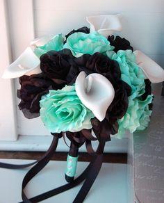 teal and aqua bouquet | Aqua Black Large Rose,Calla Lily Wedding Bridal Bouquet