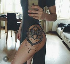 Lace Lotus Flower Mandala Chandelier Hip Tattoo Placement Ideas for Women - Blac. Lace Lotus Flower Mandala Chandelier Hip Tattoo Placement Ideas for Women – Black Henna Leg Side Hip Thigh Tattoos, Hip Tattoos Women, Tattoo Women, Tattoo Girls, Side Hip Tattoos, Girl Leg Tattoos, Side Tattoos For Girls, Flower Side Tattoos, Calf Tattoos For Women Back Of