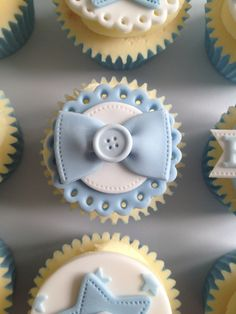 Bow tie button blue cupcakes