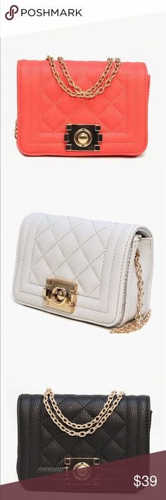 """🌺🌺Quilted Polished Lock Chain Bag🌺🌺 🌺🌺7""""W x 5""""H x 3""""D Front Flap with Gold Tone Push to Squeeze Latch Closure Gold Tone Chain Interior Zipper Pocket Faux Leather Exterior with Polyester Interior Lining Bags Shoulder Bags"""
