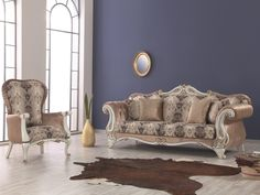VEZIR sofa set provides you with a perfect solution for posh style living room. The set includes two 3 seater sofas, two 1 seater sofa and a coffe table. Every detail of the sofa set is performed in mid-century style, and are polished and but practical. Prevailing brown color of upholstery fabric is enriched by contrast leaf ornament, perfectly plays with milky tone and soft lines of the frame. Finish your luxury Home house with a propper furniture like this one!
