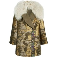 Etro Etro - Reversible Embroidered Shearling-trimmed Brocade Jacket -... ($5,630) via Polyvore featuring outerwear, jackets, embroidered jacket, gold glitter jacket, etro jacket, shearling collar jacket and double breasted jacket