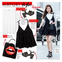 """""""No 387:Hyuna's Airport Style"""" by lovepastel ❤ liked on Polyvore featuring Topshop"""