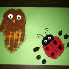 Handprint Owl and Ladybug. The things we do for our students!!