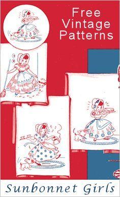 6 Vintage Sunbonnet Girl Embroidery Motifs from TipNut