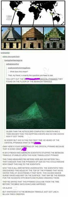 Creepy crystal pyramids at the bottom of the Bermuda Triangle. Frickin creepy