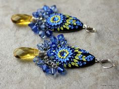 Stunning Blue and Yellow Floral Polymer Clay by charancreations, $41.00