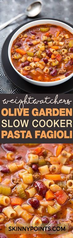 Olive Garden Slow Cooker Pasta Fagioli Recipe With Only 5 Weight Wacthers Smart Points recipes pasta Pasta Fagioli Recipe Slow Cooker, Slow Cooker Pasta, Slow Cooker Recipes, Recipe Pasta, Pasta Recipes Crockpot, Diabetic Recipes Crockpot, Weight Watchers Pasta, Weight Watcher Dinners, Weight Watchers Smart Points