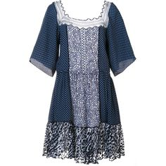 Chloé polka dot lace insert dress ($1,498) ❤ liked on Polyvore featuring dresses, blue, scoop back dress, drawstring waist dress, tiered dress, square neck dress and scalloped hem dress