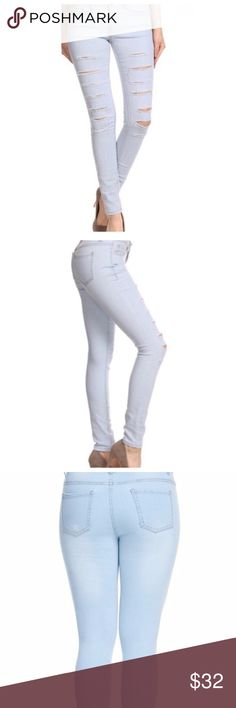 """Light blue distressed skinny jeans Light blue jeans feature distressed details along front legs. Has a bit of stretch for a perfect fit.  96%cotton 4% spandex  Inseam 29"""" Jeans Skinny"""