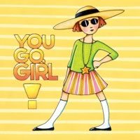 You Go Girl by Mary Engelbreit -- a cover for electronic devices by DecalGirl Mary Engelbreit, Jessie Willcox Smith, You Go Girl, Mellow Yellow, Humor, Rock, Childrens Books, Illustrators, Whimsical