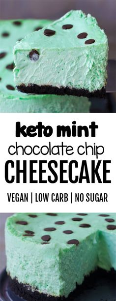 KETO Low Carb Creamy Mint Chocolate Chip Cheesecake Recipe Healthy and delicious keto friendly low carb cheesecake recipe that tastes like a chocolate thin mint girl scout cookie for dessert!