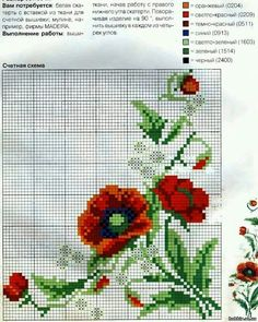 A free pattern for beautiful poppies. They are one of my favourite flowers. Cross Stitch Fruit, Simple Cross Stitch, Cross Stitch Flowers, Cross Stitch Charts, Cross Stitch Designs, Cross Stitch Patterns, Knitting Patterns, Cross Stitching, Cross Stitch Embroidery