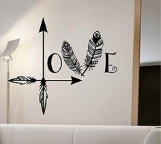 Love Arrow Wall Decal Vinyl Sticker Art Home Decor Feathers Wall Decoration State Of The Wall