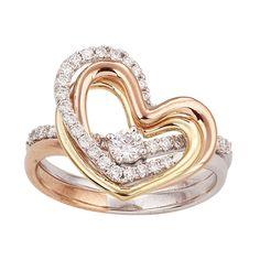 1/2 Ct Round Cut Real Diamond Solid 14k 2 Tone Gold Heart Engagement Bridal Set #caratsforyou