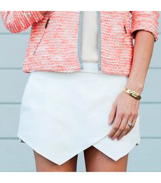 Really liking tweed jackets, especially this colorful one + this killer Zara skort (!)
