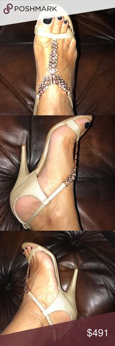 """Giuseppe Zanotti Design perlux champagne satin sdl Gorgeous satin sandals in pearl silver color with rose gold crystals embellishments 4""""heels perfect for wedding or any other special events Giuseppe Zanotti Shoes Heels"""