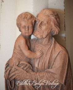 Vintage St. Joseph Statue Plaque Wall Decor Wood by edithandevelyn on Etsy