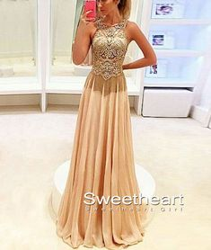 Champagne sequin long prom dress 2016, modest prom dress, beautiful chiffon long evening dress for teens,unique champagne formal dress