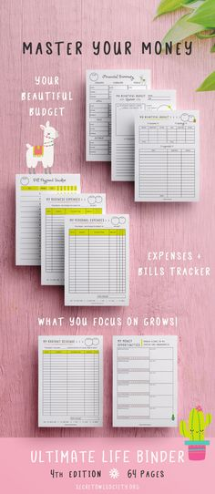 Planner, Ultimate Life Binder™, Blog, Organizer, Daily, Weekly, Monthly,  Social Media, Financial, Budget, Llamas, Cactus, US Letter, A4, A5 94d95e906a