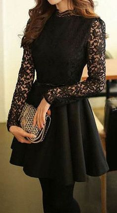 Black Lace-Bodice Dress- Features Crew Neck, lighter skirt and deeper neck line and it would be a great summer time dress Pretty Dresses, Beautiful Dresses, Robes Disney, Dress Outfits, Fashion Dresses, Mode Inspiration, Stylish Dresses, Stylish Dress Book, Pakistani Dresses