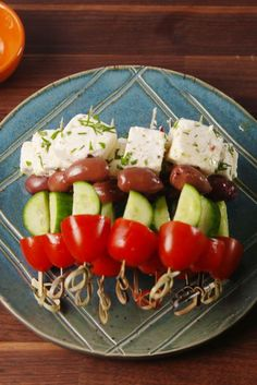 Like a Greek salad on a stick! Get the recipe fromDelish.