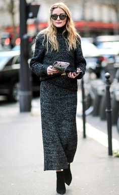 Fashion Month Continues: All the Action from Paris and Beyond! | People - Olivia Palermo in a gray marled turtleneck sweater dress and booties