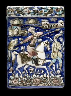 Wall tile of glazed earthenware with polychrome bas-relief design of a huntsman with attendant and buildings in the background, with raised border at top: Persia, 19th century Wall tile
